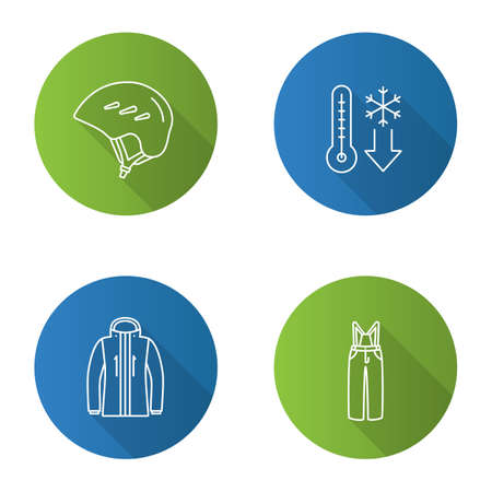 Winter activities flat linear long shadow icons set. Helmet, winter temperature, ski jacket and pants. Vector outline illustration