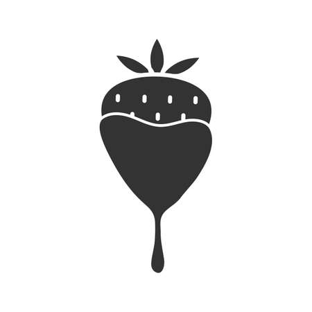 Illustration pour Chocolate covered strawberry glyph icon. Silhouette symbol. Negative space. Vector isolated illustration - image libre de droit