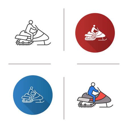 Man driving snowmobile icon. Motor sled driver. Flat design, linear and color styles. Isolated vector illustrations