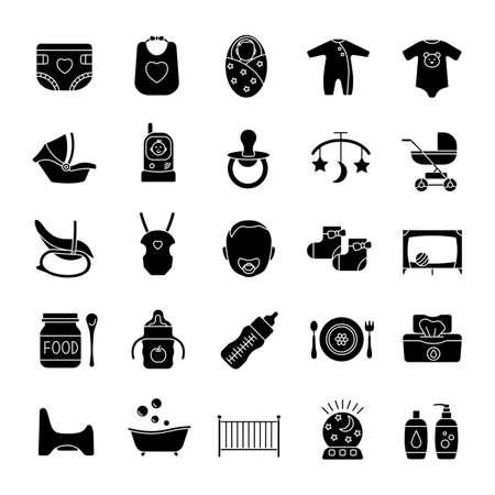 Ilustración de Childcare glyph icons set. Equipment, clothes, carriages, car seats, nutrition for babies. Silhouette symbols. Vector isolated illustration - Imagen libre de derechos