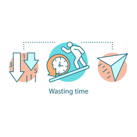 Illustration pour Wasting time concept icon. Laziness. Low productivity. Procrastination idea thin line illustration. Vector isolated outline drawing - image libre de droit