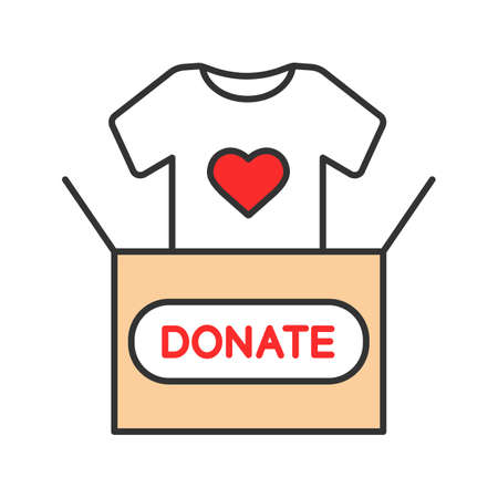 Illustration for Clothes donating color icon. Donation box with t-shirt. Used clothes. Charity. Isolated vector illustration - Royalty Free Image