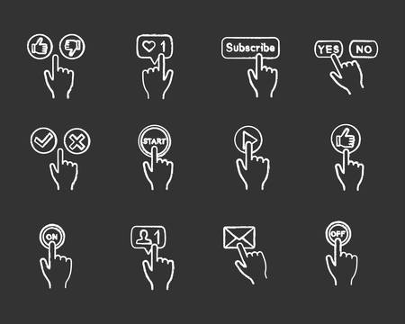 Illustration pour App buttons chalk icons set. Click. Social media interface. Webpage navigation. Isolated vector chalkboard illustrations - image libre de droit