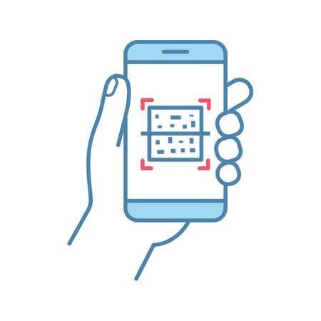 Illustration pour QR code smartphone scanner color icon. Quick response code. Matrix barcode scanning mobile phone app. Isolated vector illustration - image libre de droit