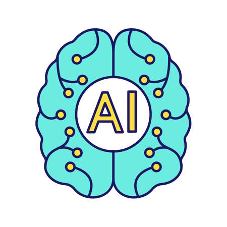 Illustration pour Artificial intelligence color icon. Digital brain. Neurotechnology. AI. Isolated vector illustration - image libre de droit