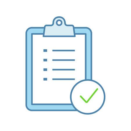 Illustration pour Task planning color icon. To do list. Project management. Tasks list. Checklist. Test, exam. Isolated vector illustration - image libre de droit