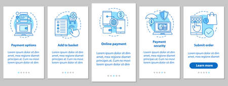 Illustration pour Online shopping onboarding mobile app page screen with linear concepts. Digital purchase. E-payment. Steps graphic instructions. UX, UI, GUI vector template with illustrations - image libre de droit
