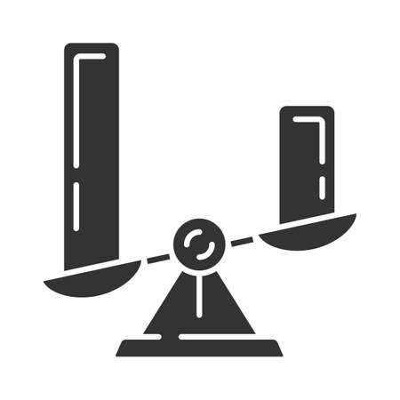 Illustration pour Comparison diagram glyph icon. Cluster diagram. Objects symbolic representation. Visual comparison categories. Histogram on scales. Silhouette symbol. Negative space. Vector isolated illustration - image libre de droit