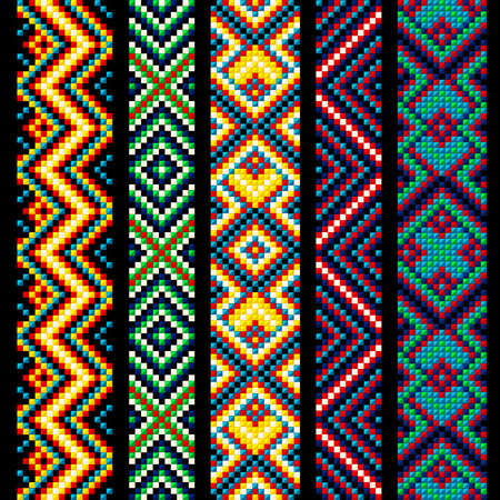 Illustration for Beading design, tribal design, tribal beads, bead necklace, african beads, ethnic seamless pattern, embroidery cross, squares, diamonds, chevrons. - Royalty Free Image