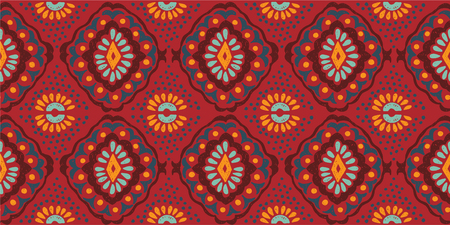Illustration for Ikat geometric folklore ornament. Tribal ethnic vector texture. Seamless striped  pattern in Aztec style. Figure tribal  embroidery. Indian, Scandinavian, Gypsy, Mexican, folk pattern. - Royalty Free Image