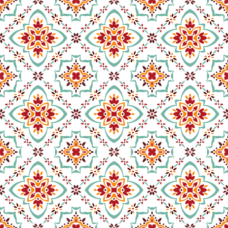 Illustration pour Talavera pattern.  Azulejos portugal. Turkish ornament. Moroccan tile mosaic. Spanish porcelain. Ceramic tableware, folk print. Spanish pottery. Ethnic background. Mediterranean seamless  wallpaper. - image libre de droit