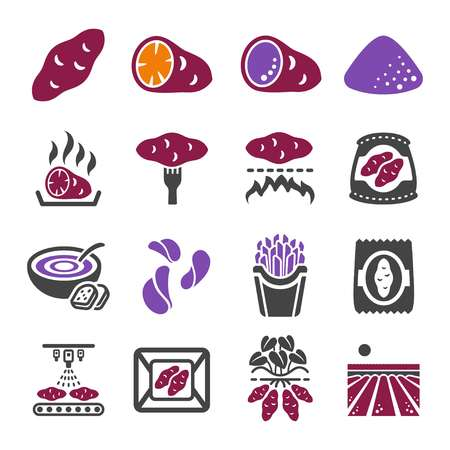 Ilustración de sweet potato icon set - Imagen libre de derechos