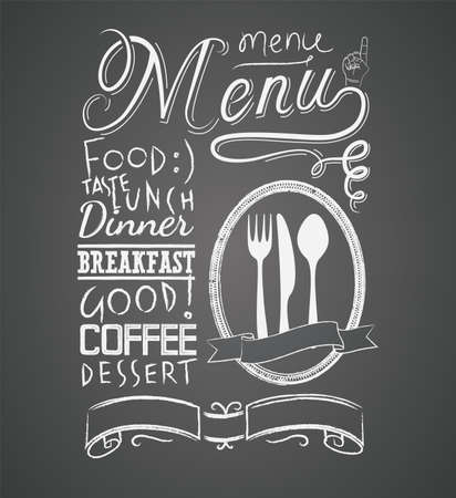 Ilustración de Illustration of a vintage graphic element for menu on blackboard - Imagen libre de derechos