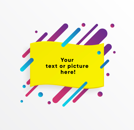Illustration for Yellow abstract Textbox shape with trendy neon lines and circles. Vector background. - Royalty Free Image