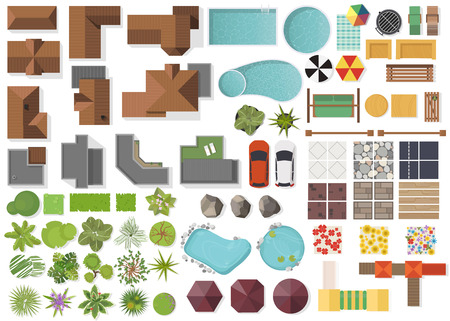 Illustration pour Set Landscape elements, top view.House, garden, tree, lake, swimming pools, bench, table. Landscaping symbols set isolated on white - image libre de droit