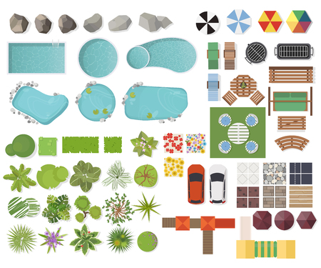 Illustration pour Set Landscape elements, top view. Garden, tree, lake, swimming pools, bench, table.Landscaping symbols, Outdoor furniture set isolated on white - image libre de droit
