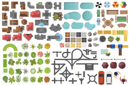 Illustration pour Set Landscape elements, top view. House, garden, tree, lake, swimming pools, bench, road, cars, people. Landscaping symbols set isolated on white - image libre de droit