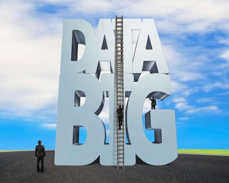 Foto de Big data 3D gray word and wood ladder with small group of business people, on sky asphalt road background - Imagen libre de derechos