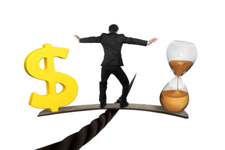 Photo pour Man standing on wood board between hourglass and golden dollar sign, balancing on wire, isolated on white. Time is money concept. - image libre de droit