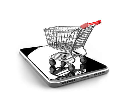 Photo pour Shopping cart with smart phone of black glass, isolated on white, on line shopping concept. - image libre de droit