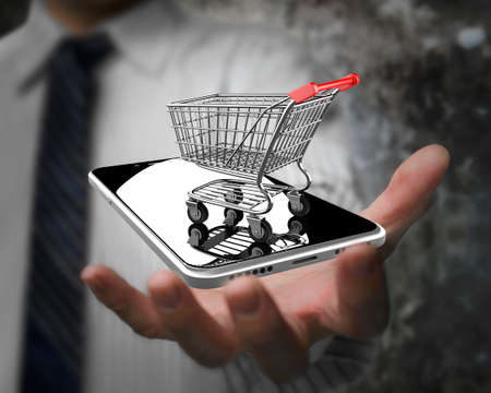 Photo for Businessman hand showing shopping cart with smart phone, on line shopping concept. - Royalty Free Image