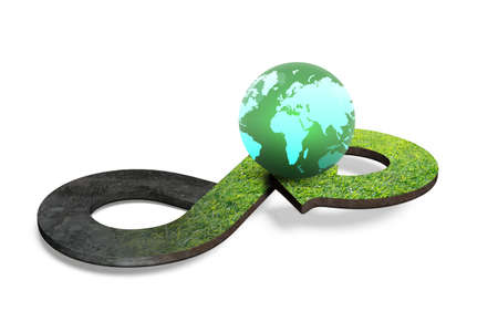 Foto de Circular economy concept. Arrow infinity symbol with grass texture and colorful globe, isolated on white background, 3D rendering. - Imagen libre de derechos