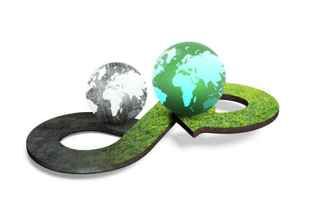Foto de Circular economy concept. Arrow infinity symbol with grass texture and two globes of different colors, isolated on white background, 3D rendering. - Imagen libre de derechos