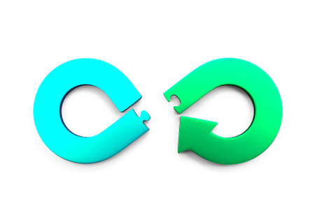 Photo for Circular economy concept. Green and blue arrow infinity symbol of puzzle pieces separated, isolated on white, 3D illustration. - Royalty Free Image