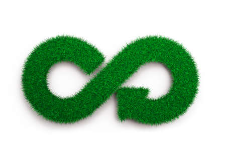 Foto de ECO and circular economy concept. The green grass in form of arrow infinity recycling symbol, isolated on white background, 3D illustration. - Imagen libre de derechos