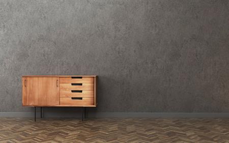 Photo pour Dark room with cabinet. vintage interior design. -3d rendering - image libre de droit