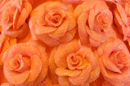 Foto per Plastic roses pink natural roses background - Immagine Royalty Free