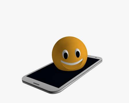 Foto de Emoticon comes out of a cell phone. 3d rendering - Imagen libre de derechos