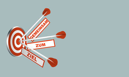 Arrows on target. Concept for motivation. With text in German: Together to the goal. 3d rendering