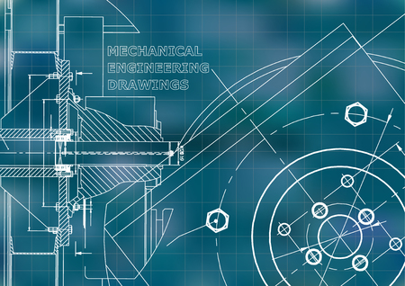 Illustrazione per Technical illustration. Mechanical engineering. Background. Blue background. Grid - Immagini Royalty Free