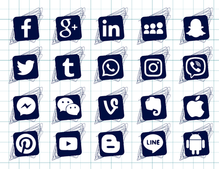 Ilustración de Drawing on the notebook sheet. Collection of popular social media icons on a white background Facebook, Instagram, Linkedin, Pinterest, Twitter, Line. Square doodle icons - Imagen libre de derechos