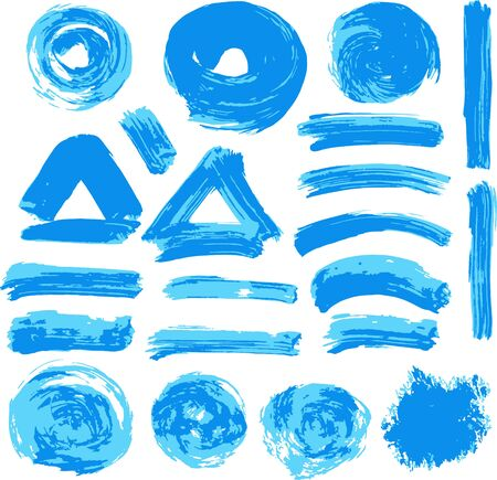 Ilustración de Collection of blue paint, ink, brush strokes, brushes, lines, grungy. Waves, circles, Dirty elements of decoration boxes frames Vector illustration - Imagen libre de derechos