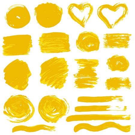 Ilustración de Collection of orange paint, ink, brush strokes, brushes, lines, grungy. Waves, circles. Dirty elements of decoration, boxes frames Vector illustration Freehand drawing - Imagen libre de derechos