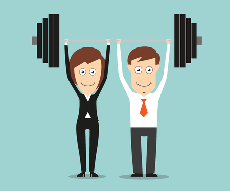Ilustración de Business colleagues holding a heavy barbell above heads for teamwork or partnership business concept design. Cartoon flat style - Imagen libre de derechos