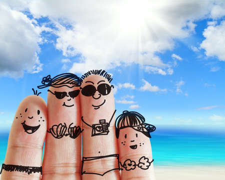 Foto per finger family travels at the beach as concept - Immagine Royalty Free