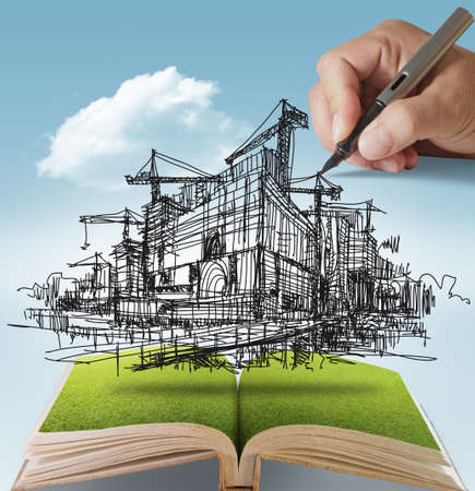 Photo pour open book of hand draws building and construction - image libre de droit