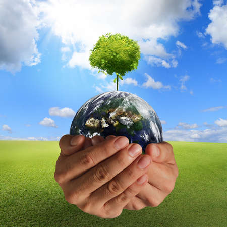 Photo pour tree on the earth in hands concept,elements of this image furnished by NASA - image libre de droit