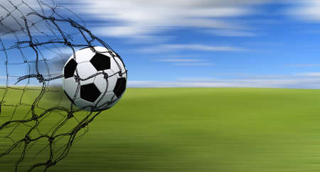 Photo pour soccer ball in a net with hand drawn sketch on blur background - image libre de droit