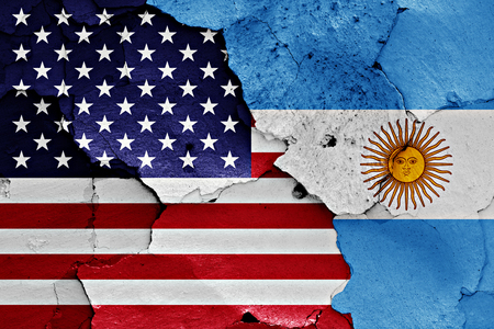 Photo for flags of United States and Argentina painted on cracked wall - Royalty Free Image