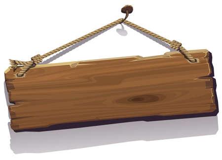Illustration pour Wood board on the rope. Vector illustration. - image libre de droit