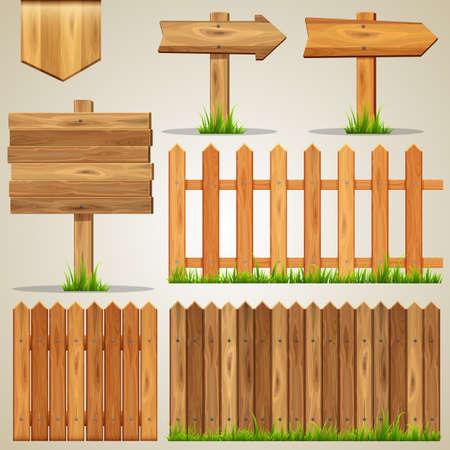 Illustration pour Set of wood elements for design. Vector illustration. - image libre de droit