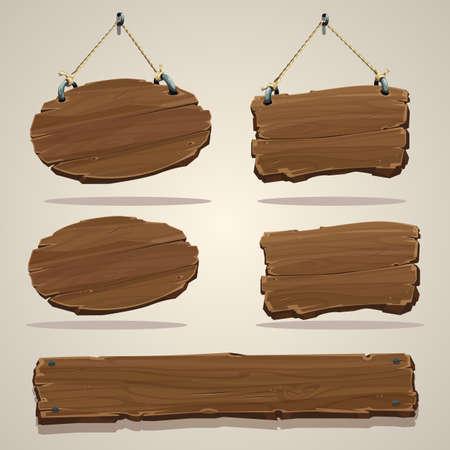 Illustration pour Wood board on the rope.  - image libre de droit