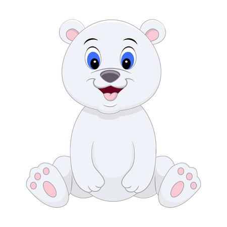 Illustrazione per Cute cartoon polar bear. Vector illustration isolated on white background. - Immagini Royalty Free