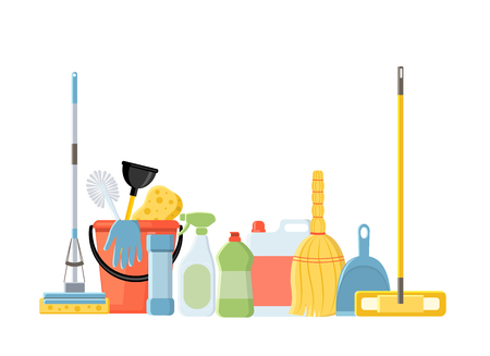 Illustration pour Cleaning tools in flat cartoon style vector illustration isolated on white background. Mop, sponge, detergent, bucket, brush. - image libre de droit
