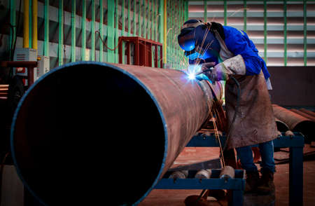 Photo for Pipe welding on the pipeline construction - Royalty Free Image