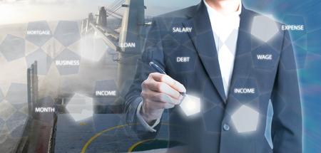 Foto de Double exposure of Businessman holding a pen on transportation of logistics background - Imagen libre de derechos